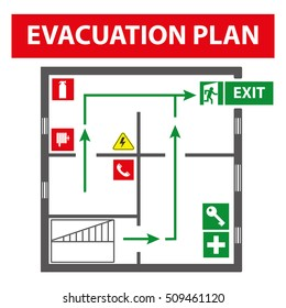 Signs for the evacuation plan of the building in case of fire or a hazardous incident. Simple elements to ensure the safety and protection of the working production. Icons for fire safety.