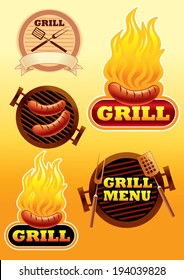 signs of grill and barbecue illustration