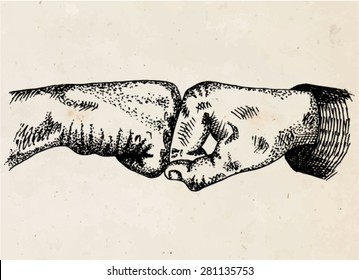 Signs hands. Fist agreement