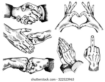 Signs hands. Fist agreement. Shaking hands. Hands folded heart. Fuck you sign. Business shaking hands. Hands folded in prayer on the white paper background
