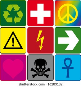 signs on the colored backgrounds