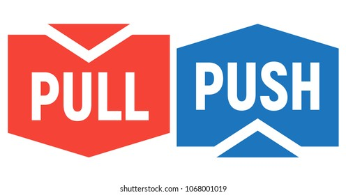Signs on doors. Push and Pull. Vector illustration.
