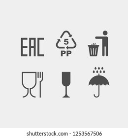 Signs on the package flat vector icons.  EAC, protect from moisture, throw in the trash, non-toxic material, gently fragile, recycling flat vector signs