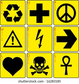 signs on the yellow background