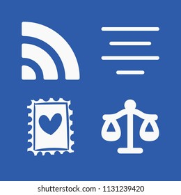 Signs related set of 4 icons such as stamp with heart drawing, libra justice balanced scale symbol, wifi