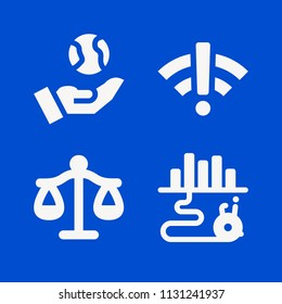 Signs related set of 4 icons such as route, libra justice balanced scale symbol, wifi