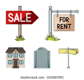 Signs of sale and rent, a skyscraper, a two-story cottage.Realtor set collection icons in cartoon style vector symbol stock illustration web.