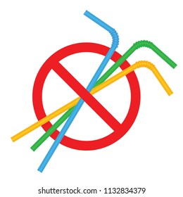 signs stop straw tube plastic, refusal of disposable plastic drinking straw in favor of drinking straws, ban plastic drinking straws, stop sign on white background (vector)
