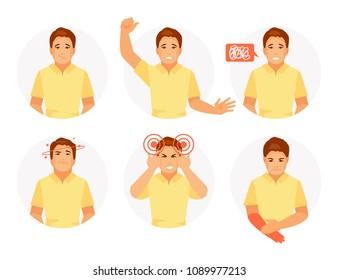 Signs of stroke dizziness, speech disorder, numbness, headache, coordination disorder Vector illustration
