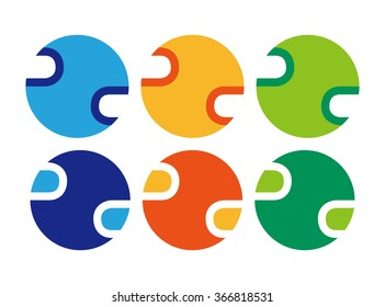 signs symbols of  colored circles computer science concept icons