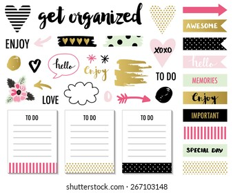 Signs and symbols for organized you planner. Template for scrapbooking, wrapping, wedding invitation, notebooks, diary.