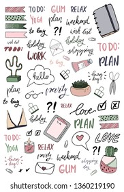 Signs and symbols for organized your planner. Template for stickers, scrapbooking, wrapping, notebooks, diary. Spring beauty collection. Weekly Planner
