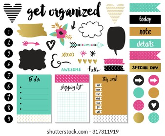 Signs and symbols for organized your planner. Template for scrapbooking, wrapping, wedding invitation, notebooks, diary. Weekly Planner.