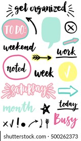 Signs and symbols for organized your planner. Template for stickers, scrapbooking, wrapping, wedding invitation, notebooks, diary. Weekly Planner.