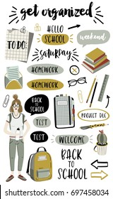 Signs and symbols for organized your planner. Back to school collection. Template for stickers, scrapbooking, wrapping, wedding invitation, notebooks, diary. Weekly Planner.