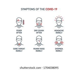 Signs and symptoms Coronavirus: fever, dry cough, headache, sore throat, runny nose, dyspnea single line icons isolated on white. Perfect outline symbols Covid 19 banner. design icons editable Stroke