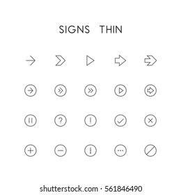Signs thin icon set - different arrows, question and exclamation mark, checkmark, delete cross, plus, minus, information, menu and others simple vector symbols. Buttons and website elements.