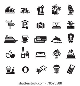 Signs. Vacation, Travel & Recreation. Third set icons in black