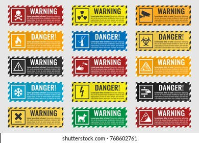signs warning of the danger - fire, high voltage, toxic, temperature