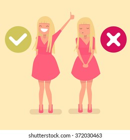 signs yes and no. The girl in the pink dress in the flat design