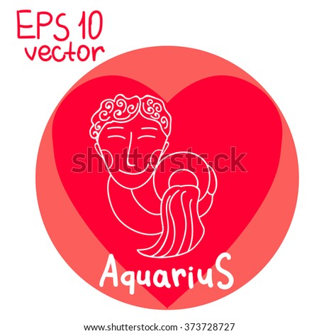 Signs Zodiac Aquarius Isolated Outline Vector Stock Vector Royalty