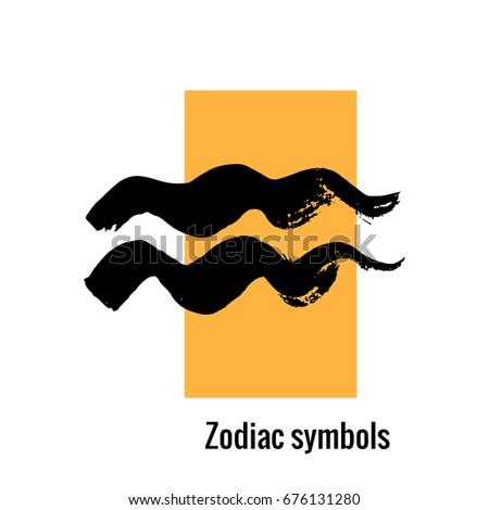 Signs Zodiac Aquarius Symbol Hand Draw Stock Vector Royalty Free