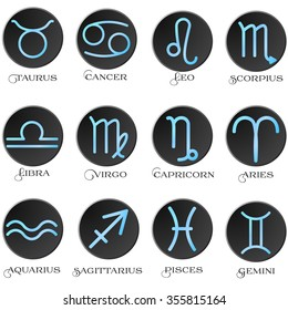 The signs of the zodiac. The astrological signs. Zodiac belt. Astrological horoscope. Round black frame. The twelve zodiac signs blue. The flat design. Vector illustration.