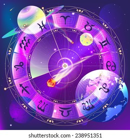 The signs of the zodiac, zodiac circle in space, vector illustration