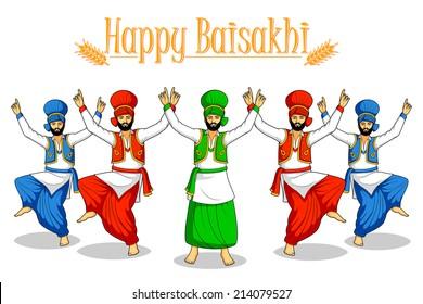 Sikh doing Bhangra, folk dance of Punjab, India in vector