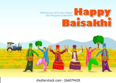 Sikh doing Bhangra, folk dance of Punjab, India for Happy Baisakhi in vector