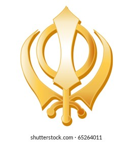 Sikh Symbol.  Golden Sikh Khanda icon of the Sikh faith isolated on a white background. EPS8 compatible.