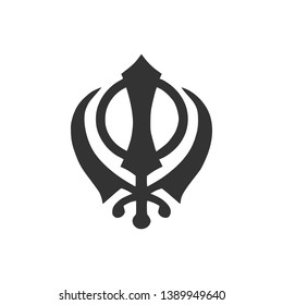 Sikhism religion Khanda symbol icon isolated. Khanda Sikh symbol. Flat design. Vector Illustration