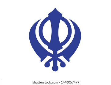 Sikhism religion Khanda symbol icon isolated on transparent background. Khanda Sikh symbol. Flat design. Vector Illustration.Khanda Sign symbol of guru nanak dev ji