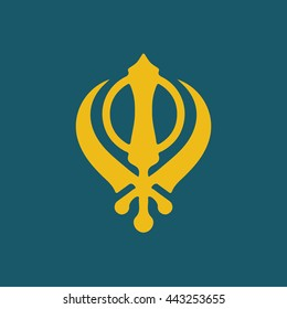 Sikhism symbol icon . vector illustration