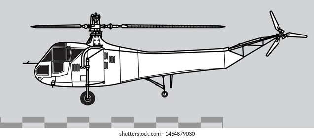 Sikorsky R-4 Hoverfly. Outline vector drawing