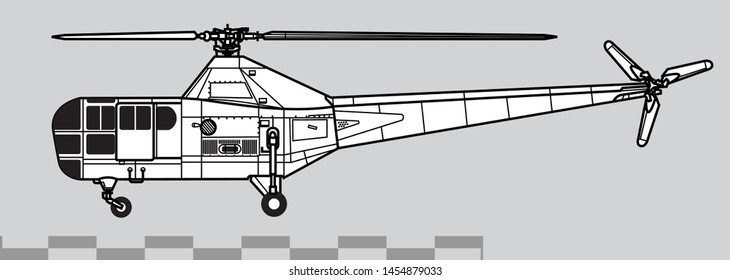 Sikorsky R-5 Dragonfly. Outline vector drawing