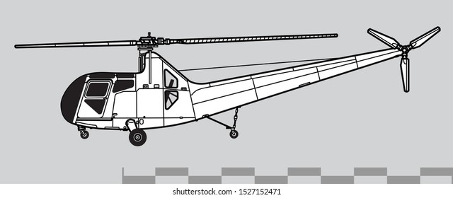 Sikorsky R-6 Hoverfly 2. Outline vector drawing