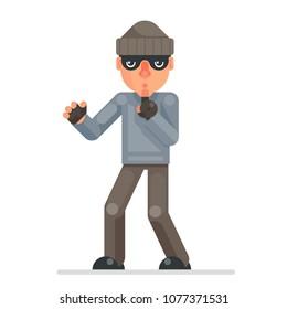 Silence finger evil greedily thief cartoon bulgar rogue character flat design isolated vector illustration