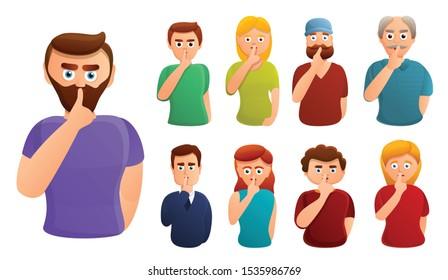 Silence icons set. Cartoon set of silence vector icons for web design