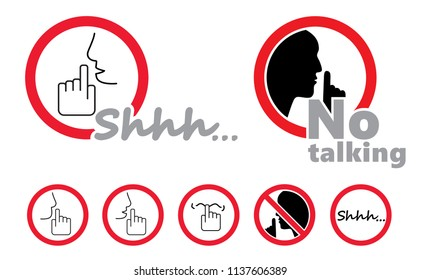 Silence no speaking no talking shhh No Ban stop vector zzz sign silhouette please be quiet silent finger over lips sound off flat icon no speech shhh mute mouth hand stop signs forbad Caution funny