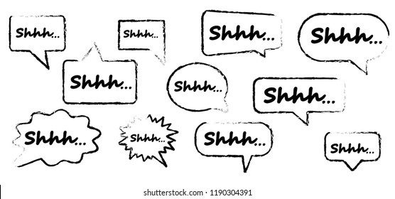 Silence shhh no speech bubble no speaking no talking shhh vector zzz sign silhouette of please be quiet silent no talking sound off flat icon whisper stop signs forbad  talk red icon silence fun funny