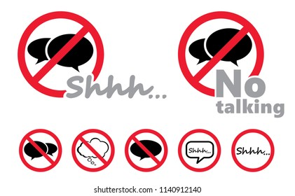 Silence shhh no speech no speaking no talking shhh vector eps sign silhouette of please be quiet silent no talking sound off flat icon whisper stop signs forbad speech bubble talk red icon silence