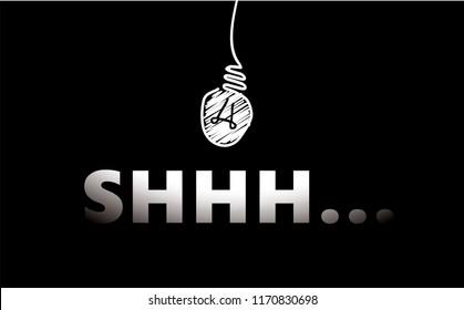 Silence shhh quiet please of please be quiet verctor eps no talking forbidden forbad stop chalkboard blackboard school banner vintage fun funny idea light Keep silence volume off No sound lamp draw
