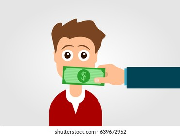 Silenced by money concept. Hand with dollar bill covering the person's mouth