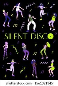 Silent disc concept, people dancing in earphones