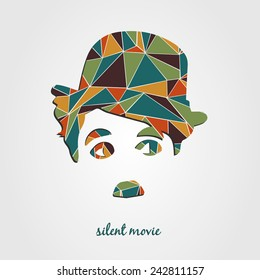 Silent film poster with Charlie Chaplin Silhouette. Polygonal design.