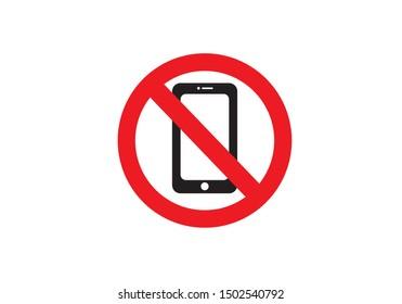 Silent mode handphone icon, sign warning vector illustration.