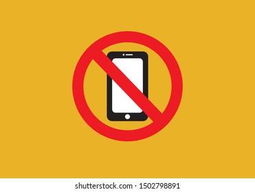 Silent mode handphone icon. Sign warning vector illustration.