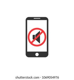 Silent mode of smartphone. Vibration. Soundless mode. Speaker icon. Vector illustration. Flat design.