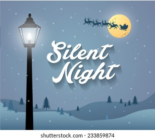 silent night background template vector/illustration